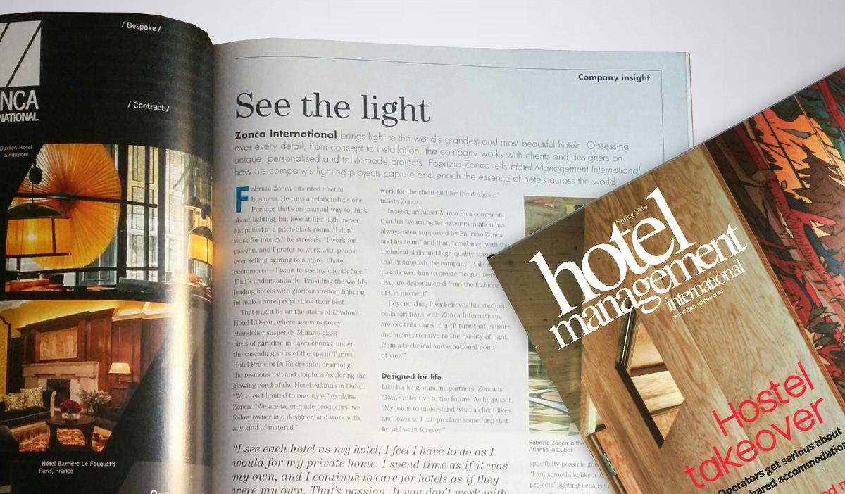Il magazine Hotel Management celebra l'illuminazione Zonca Lighting